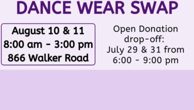 Dance Wear Swap August 10 & 11