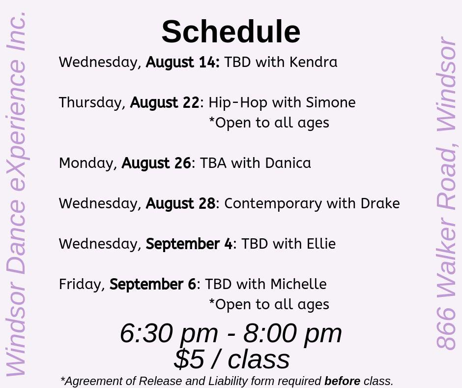 Open Class Schedule